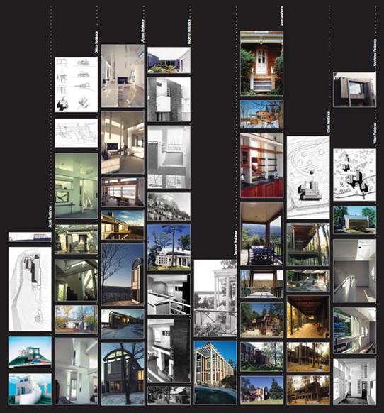 poster collage of architectural design drawings and photos arranged in eight columns on a black background