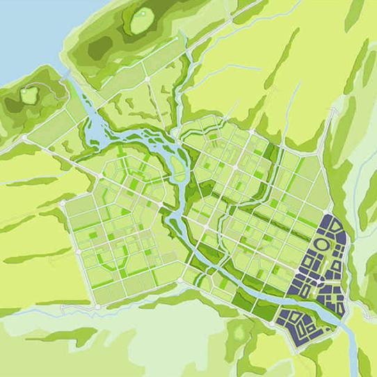 map of a river through a community in shades of green and blue