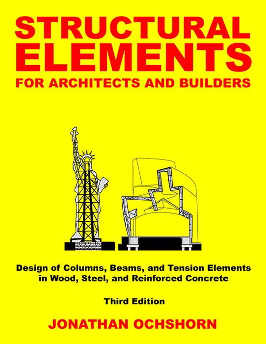 graphic book cover for structural elements for architects and builders in red text on yellow cover