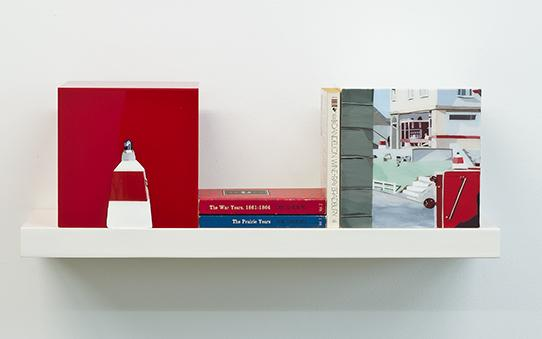 Books on a shelf between painted cubes