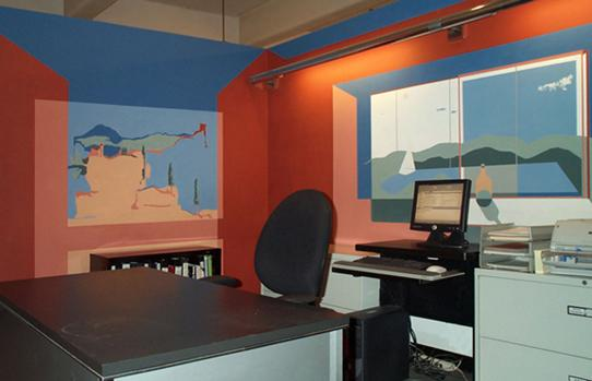 Painted walls simulating an office with actual furniture in image