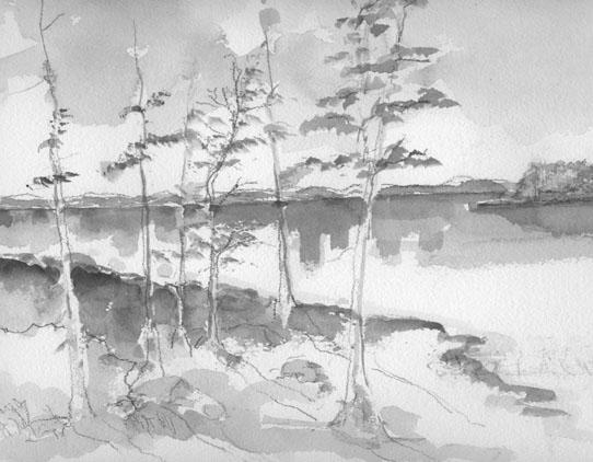 black and white watercolor landscape
