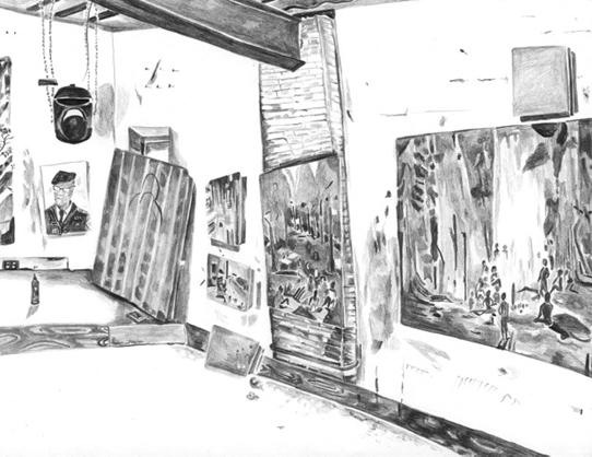 black and white watercolor of an artist's studio with paintings on the walls