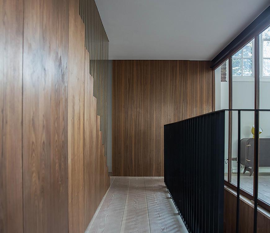 wood clad modern interior hallway