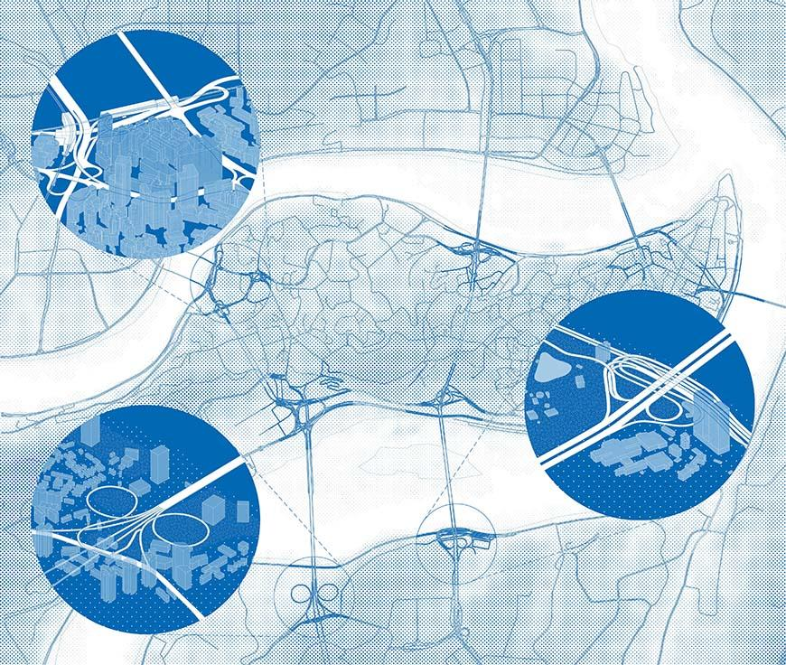 Digital rendering of highways located in Chongqing, and the locations in which they intersect.