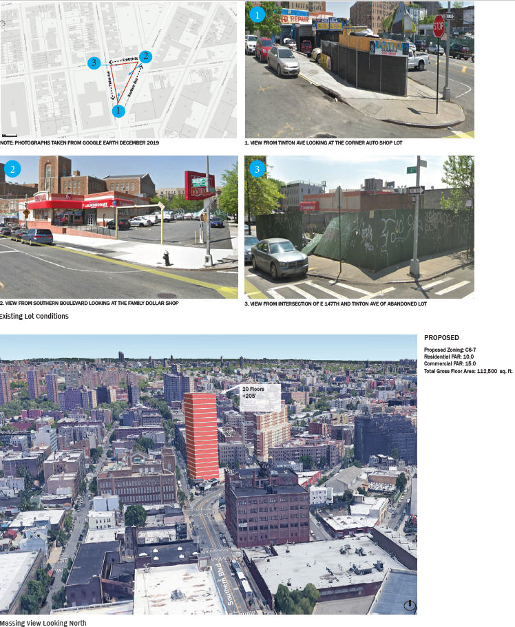 Imagery with aerial and street views with building massings