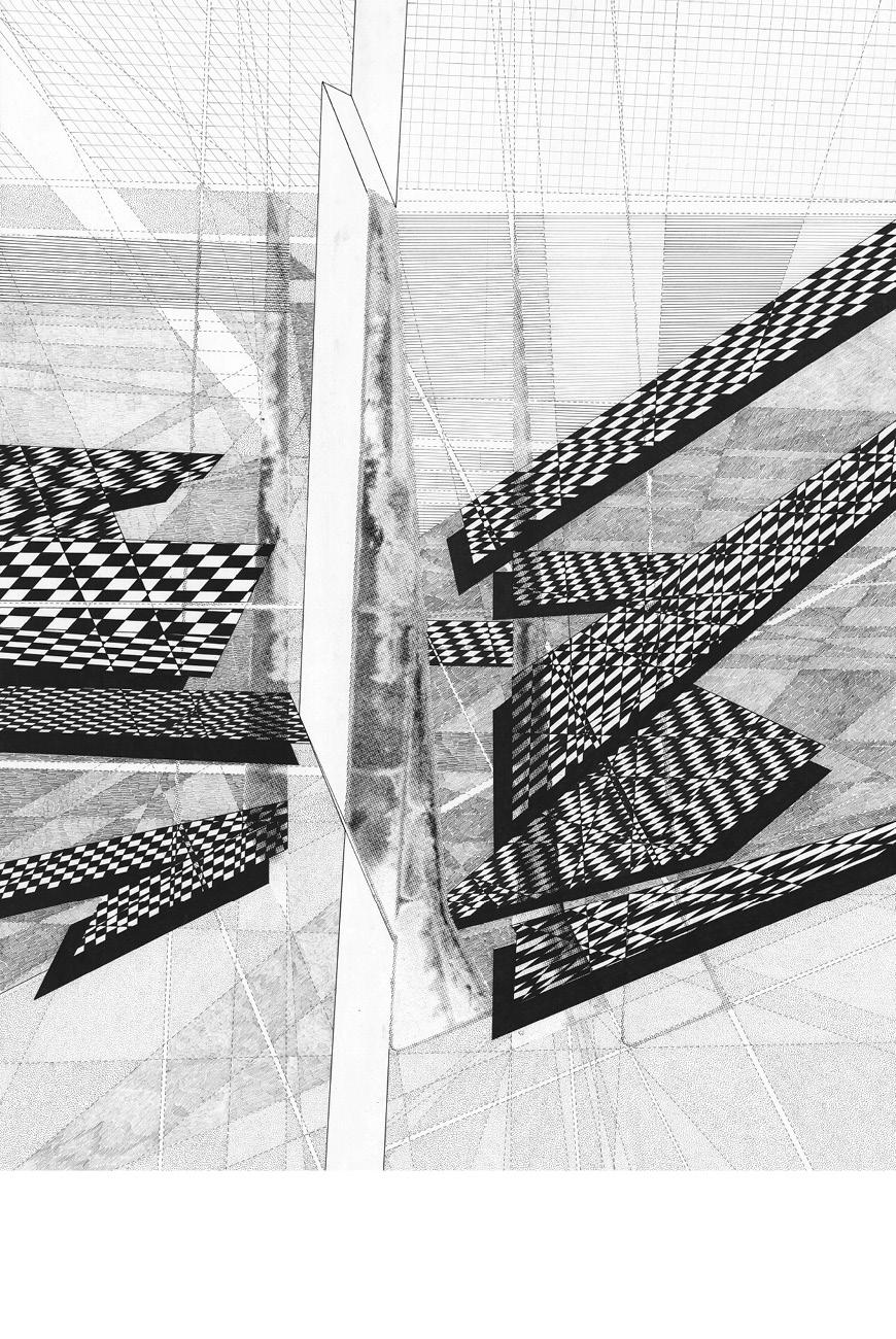 Black and white geometrical rendering.