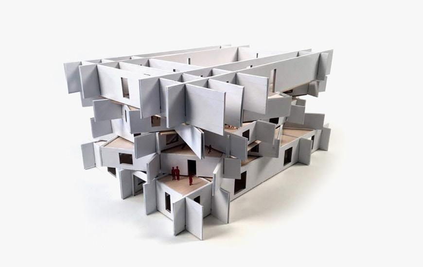 Multi-layered building model.