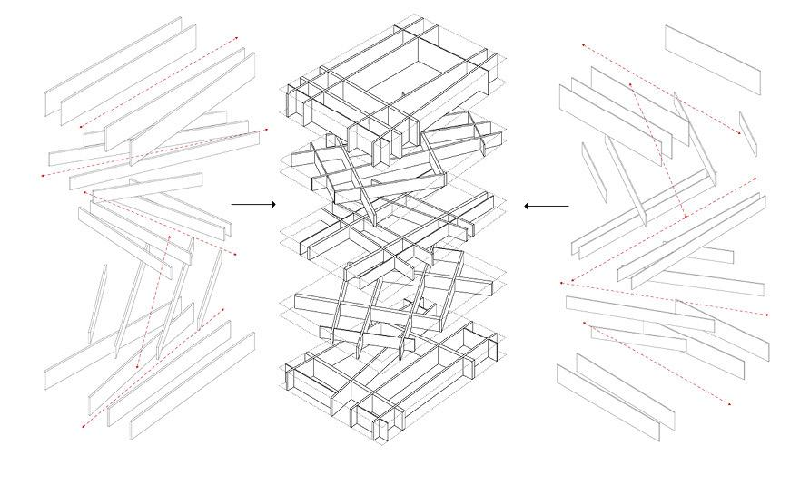 Drawing study of the irregular stacking of wall elements.