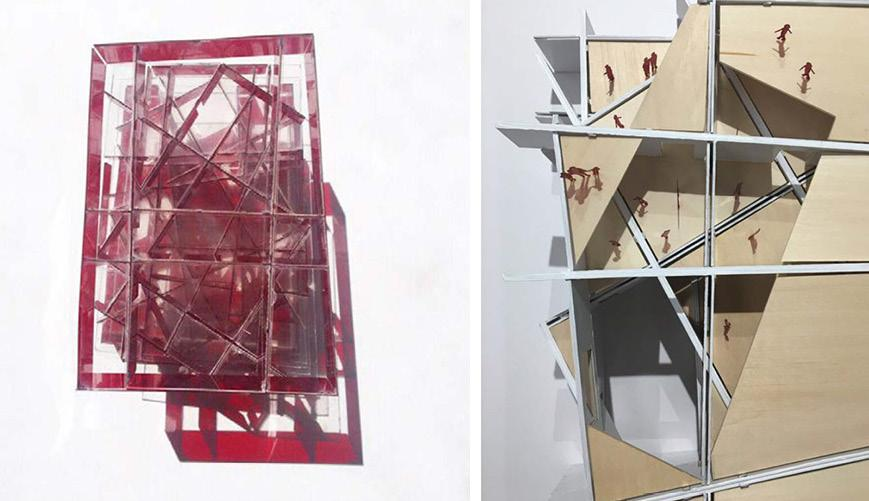 Two images of building model, aerial view with figures throughout.