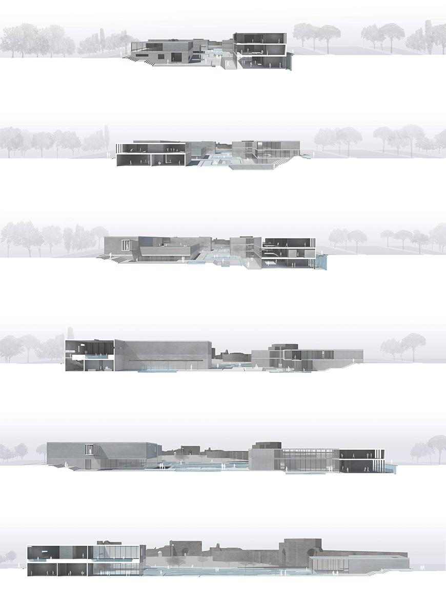 Digital rendering of an architectural structure from varying viewpoints.