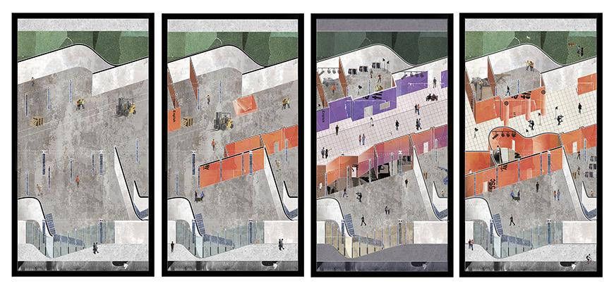 Digital rendering and overhead view of an architectural structure.