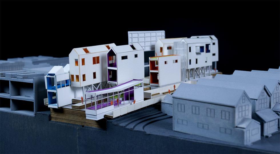 model of mixed use development near a neighborhood