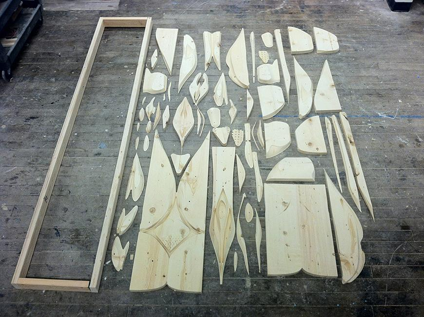 cut out wooden pieces of the wood