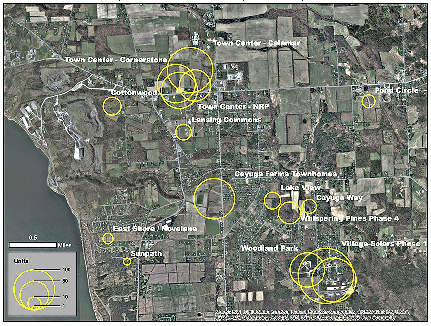Map highlighting development proposals
