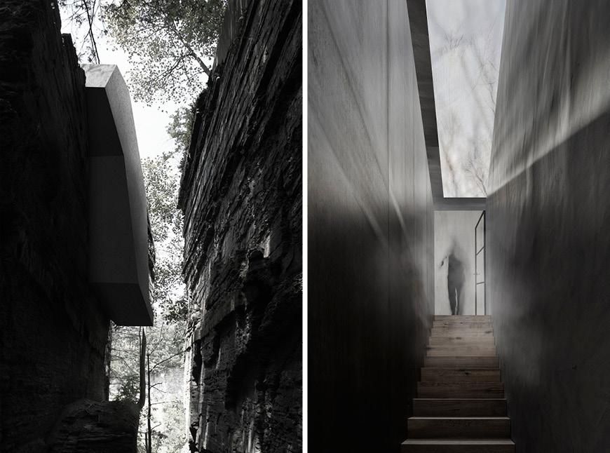 Two renderings: an exterior narrow gorge path and an interior narrow hallway.