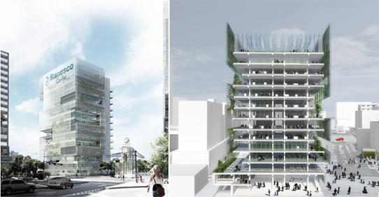 two renderings of Banesco Tower