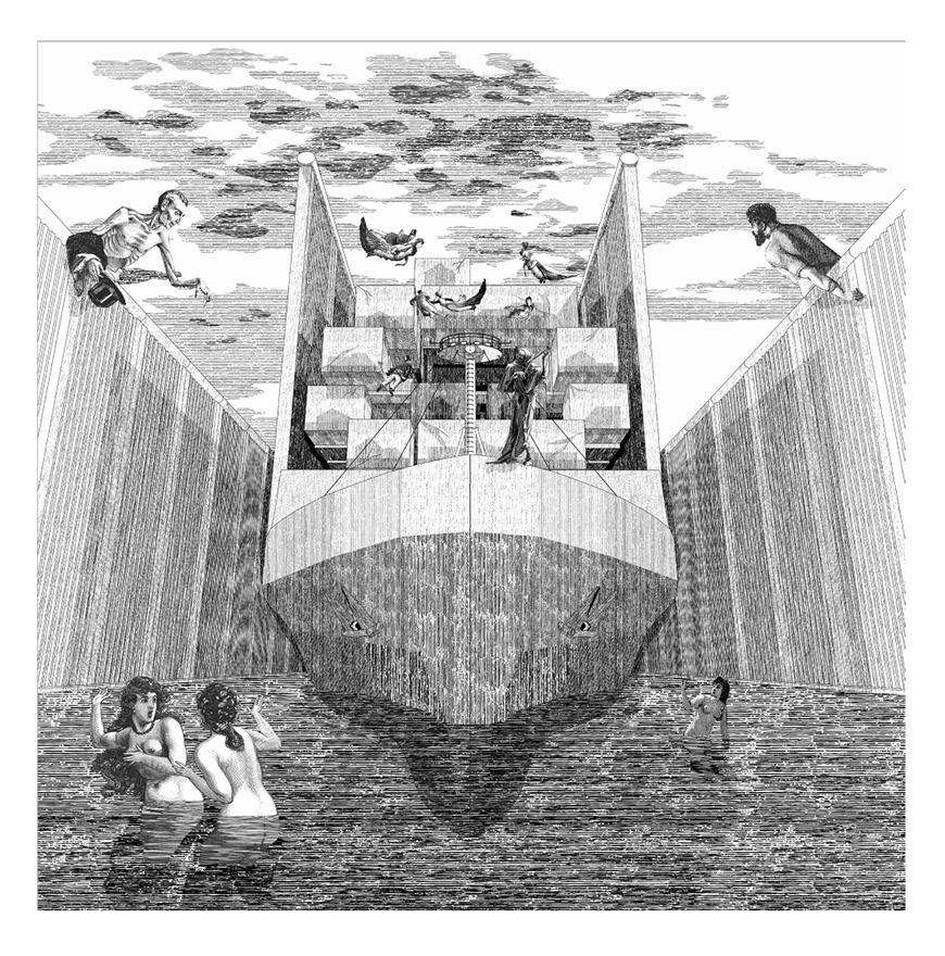 Illustration of the front view of a ship in water and figures in water, between two walls, showing economic differences of people on either side of wall.