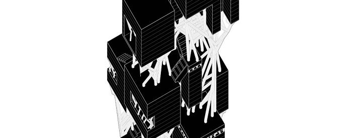 Axonometric drawing with solid black surfaces.