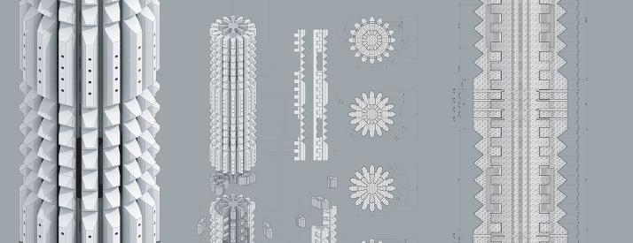 Composition of render, axon drawings, and sections of column on gray background.