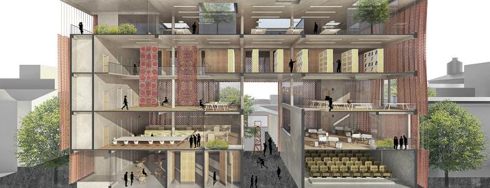 Workshop building, perspective section.