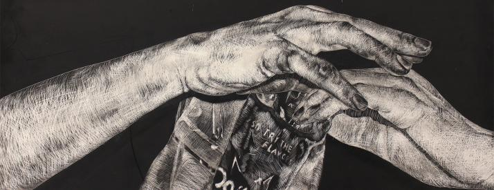 Black and white sketch of two hands over lapping holding a bag of chips.