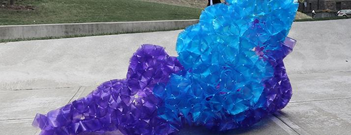 Model made of blue and purple plastic cups