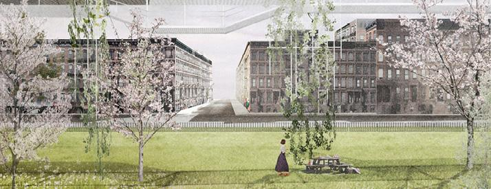 Render of park with proposed structure above.