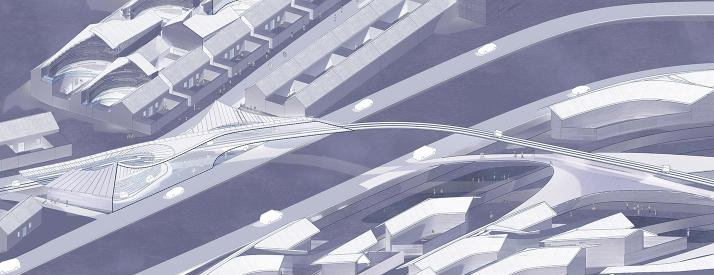 A graphic architectural rendering.