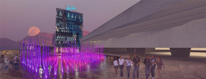 rendering of outside of tall building with neon pink structures in front and a moon in the background
