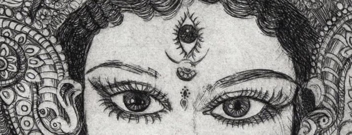 Black and white sketched print of a woman with an ornate head dress with large eyes and a third eye in the middle of her forehead.