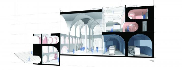 Section showing different vault arrangements for public space to storage etc.