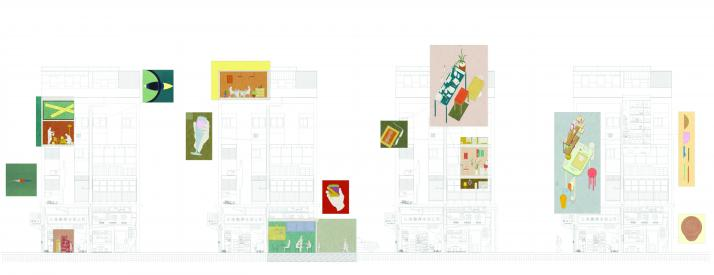Sections with colorful collage images of objects.