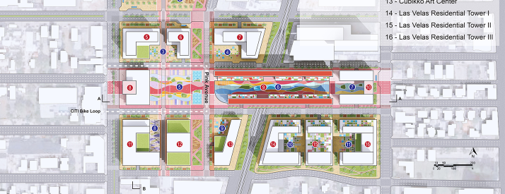 Drawing of aerial of buildings with colorful streets in the middle