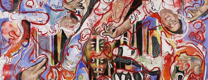 Drawing of a woman floating in each corner of the image, screaming, with an abstract depiction of a dorm room in the background.