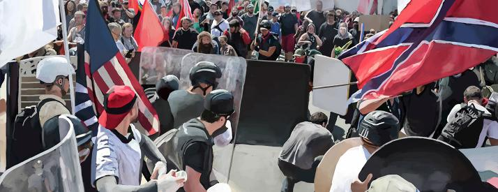 Painting of a crowd of protesters behind a barricade holding different blank signs and red, blue, and white flags.