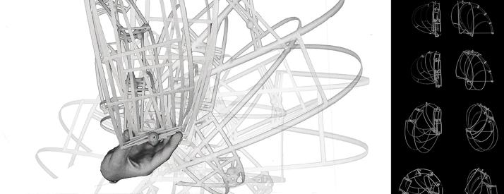 Digital rendering of an architectural structure in motion.