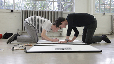 B.Arch. students work on a group project for the core curriculum class Freehand Architectural Drawing.
